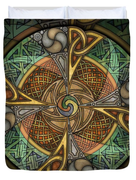 Duvet Cover featuring the mixed media Celtic Aperture Mandala by Kristen Fox