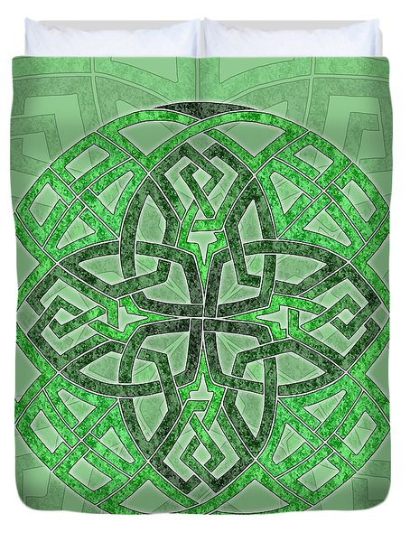 Duvet Cover featuring the mixed media Celtic Clover Mandala by Kristen Fox