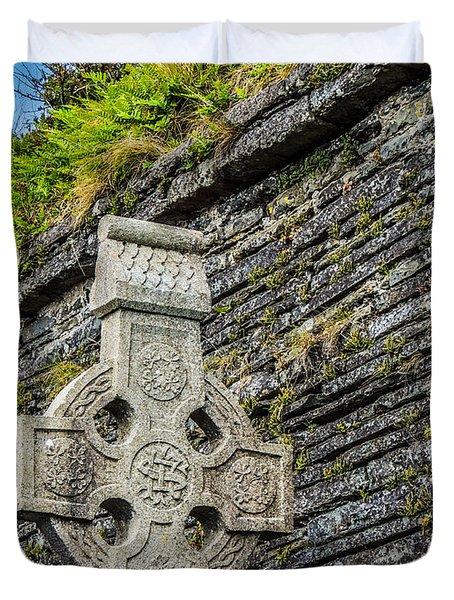 Celtic Cross At Kilmurry-ibrickan Church Duvet Cover