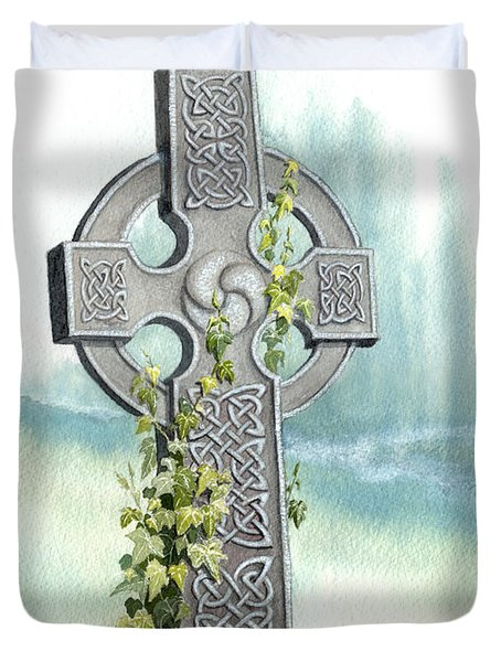 Celtic Cross With Ivy II Duvet Cover