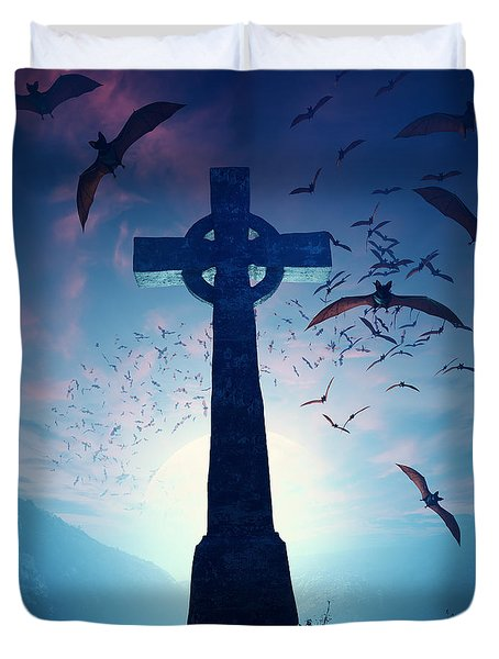 Celtic Cross With Swarm Of Bats Duvet Cover by Johan Swanepoel