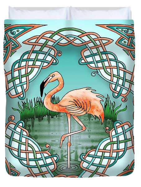 Duvet Cover featuring the drawing Celtic Flamingo Art by Kristen Fox