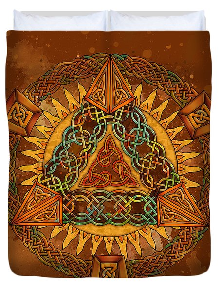 Duvet Cover featuring the mixed media Celtic Pyramid Mandala by Kristen Fox