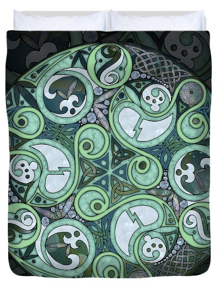 Duvet Cover featuring the mixed media Celtic Stormy Sea Mandala by Kristen Fox