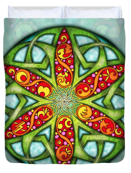 Duvet Cover featuring the mixed media Celtic Summer Mandala by Kristen Fox