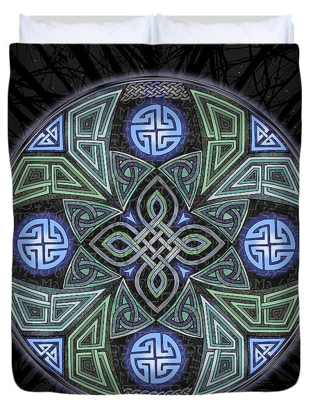 Duvet Cover featuring the mixed media Celtic Ufo Mandala by Kristen Fox