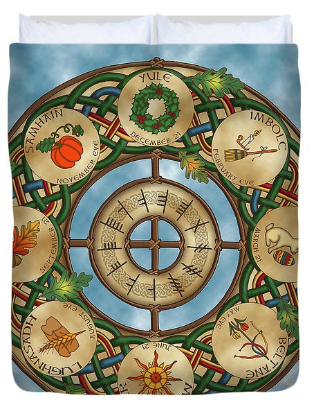 Duvet Cover featuring the mixed media Celtic Wheel Of The Year by Kristen Fox