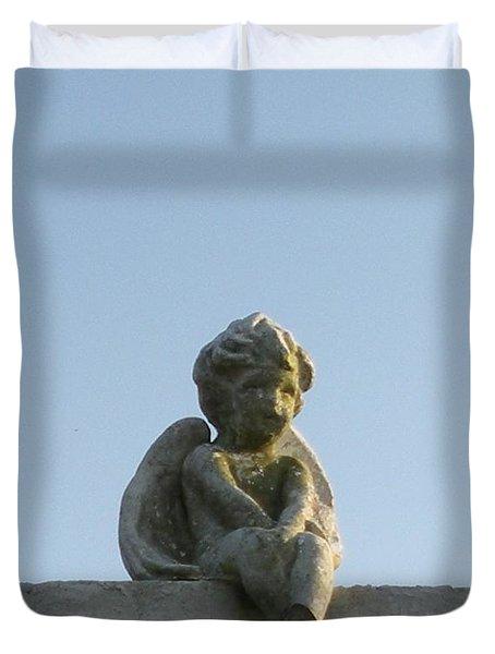 Duvet Cover featuring the photograph Cemetery Cherub by Joseph Baril
