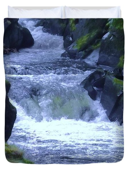 Duvet Cover featuring the photograph Cenarth Falls by John Williams