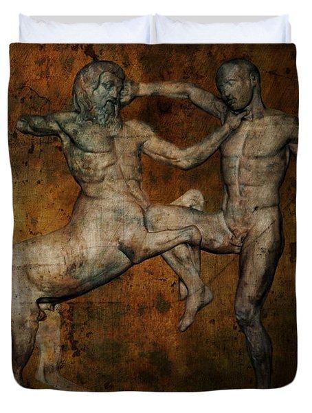 Centaur Vs Lapith Warrior Duvet Cover by Daniel Hagerman