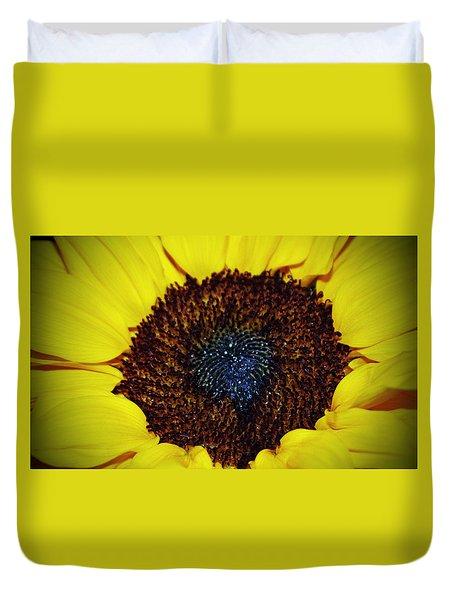 Center Of A Sunflower Duvet Cover by Cynthia Guinn