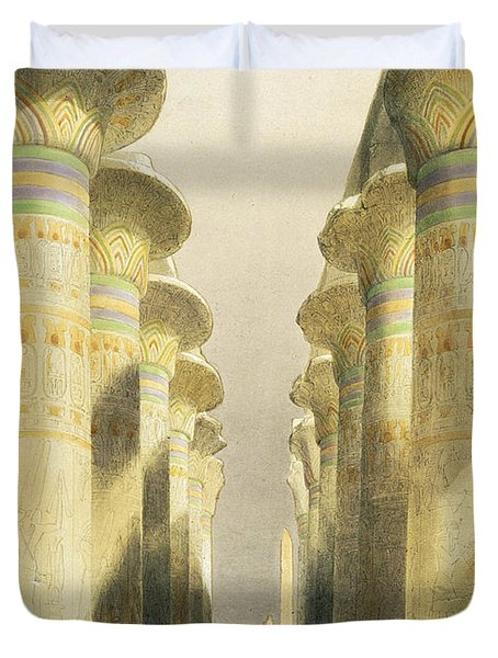 Central Avenue Of The Great Hall Of Columns Duvet Cover by David Roberts