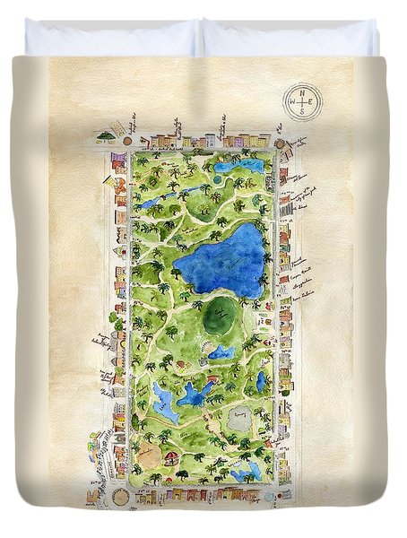 Central Park And All That Surrounds It Duvet Cover by AFineLyne