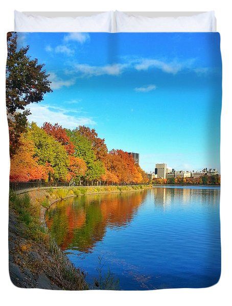 Central Park Autumn Landscape Duvet Cover