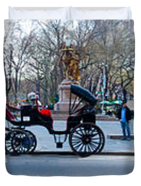 Central Park Horse Carriage Station Panorama Duvet Cover