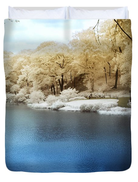 Central Park Lake Infrared Duvet Cover