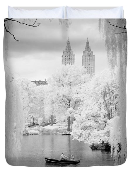Central Park Lake-infrared Willows Duvet Cover