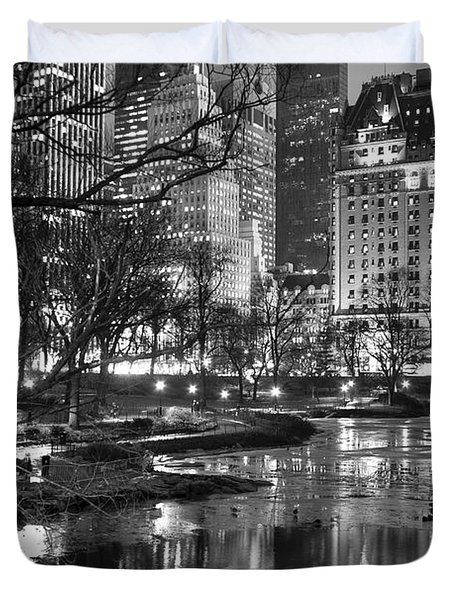 Central Park Lake Night Duvet Cover