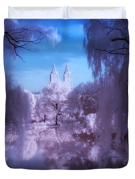 Central Park Lake Willows Color Duvet Cover