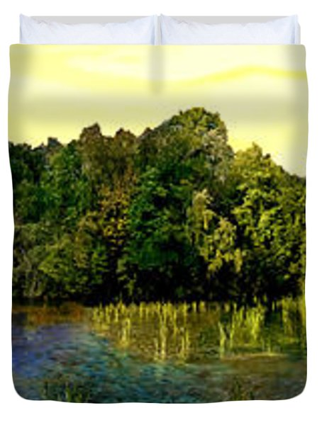 Central Park Panorama At Sunset Duvet Cover