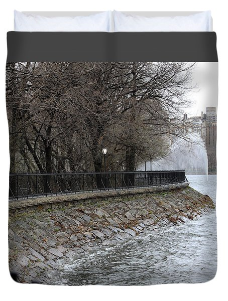 Central Park Reservoir  Color Duvet Cover by Chris Thomas