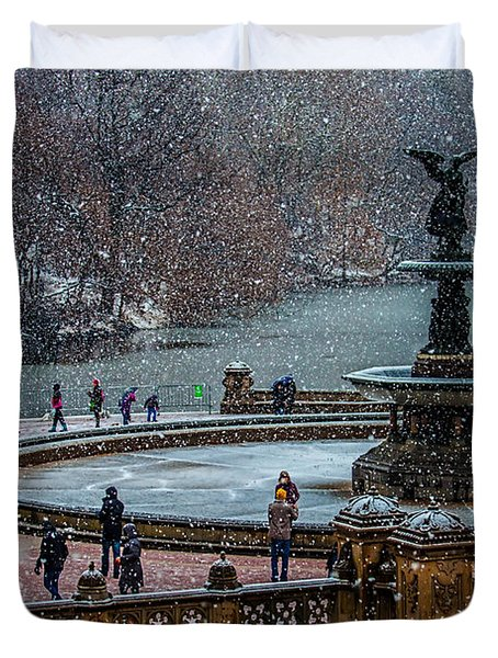 Central Park Snow Storm Duvet Cover