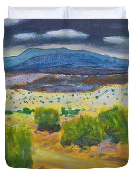 Duvet Cover featuring the painting Cerrillos Spring by John Hansen