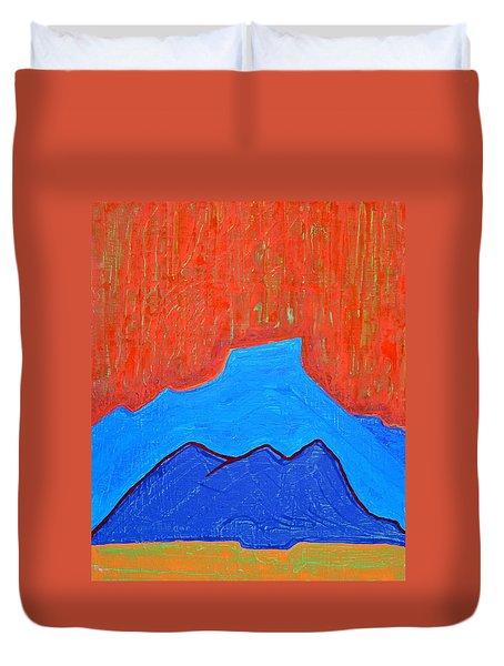 Cerro Pedernal Original Painting Sold Duvet Cover by Sol Luckman