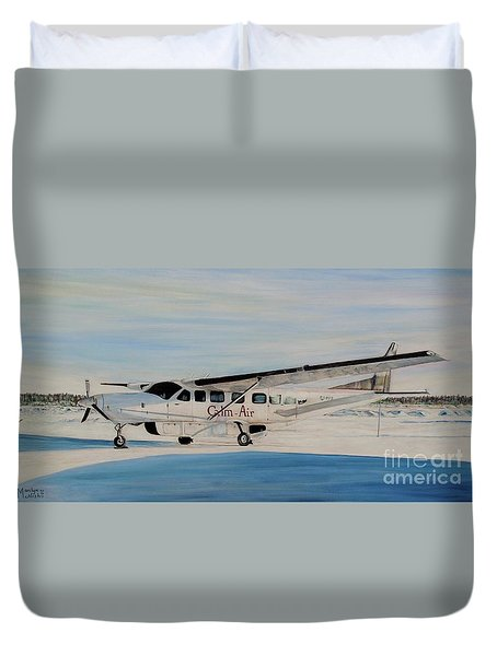 Duvet Cover featuring the painting Cessna 208 Caravan by Marilyn  McNish