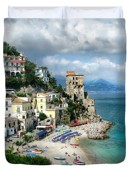 Cetara. Amalfi Coast Duvet Cover by Jennie Breeze