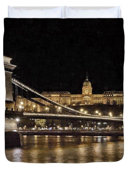 Chain Bridge And Buda Castle Winter Night Painterly Duvet Cover