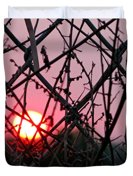 Duvet Cover featuring the photograph Chain Link Sunset by Jennie Breeze