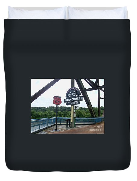 Duvet Cover featuring the photograph Chain Of Rocks Bridge by Kelly Awad