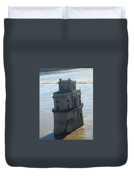 Duvet Cover featuring the photograph Chain Of Rocks by Kelly Awad