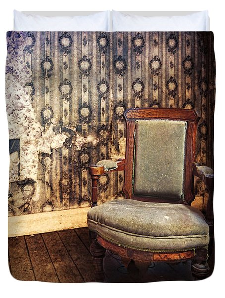 Chair In Abandoned Room Duvet Cover by Jill Battaglia
