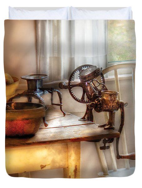 Chair - Kitchen Preparations  Duvet Cover by Mike Savad