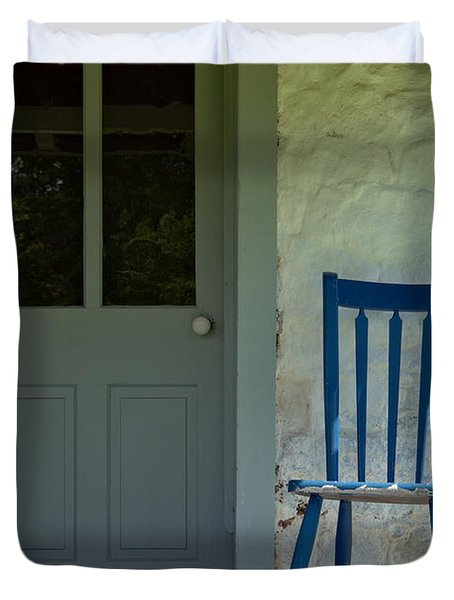 Chair On Farmhouse Porch Duvet Cover