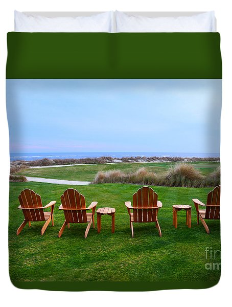 Chairs At The Eighteenth Hole Duvet Cover by Catherine Sherman