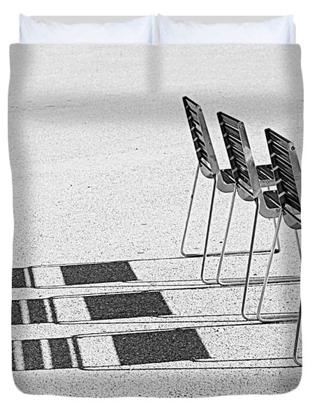 Chairs In The Sun Duvet Cover by Chevy Fleet