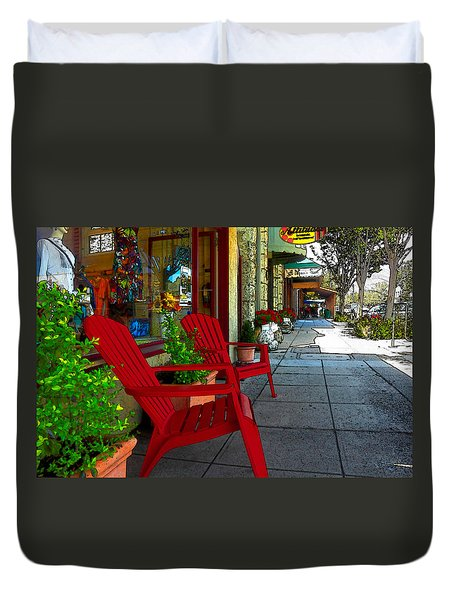 Chairs On A Sidewalk Duvet Cover by James Eddy