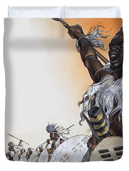 Chaka In Battle At The Head Duvet Cover