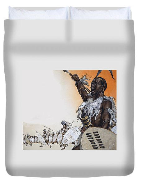 Chaka In Battle At The Head Duvet Cover by Angus McBride