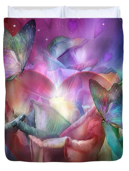 Chakra Heart Duvet Cover by Carol Cavalaris