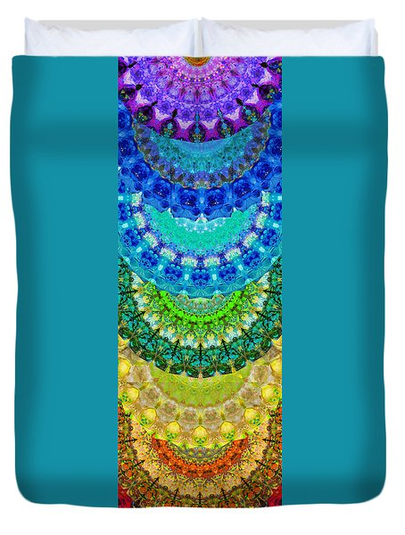 Chakra Mandala Healing Art By Sharon Cummings Duvet Cover