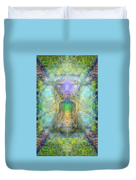 Chakra Tree Anatomy With Mercaba In Chalice Garden Duvet Cover
