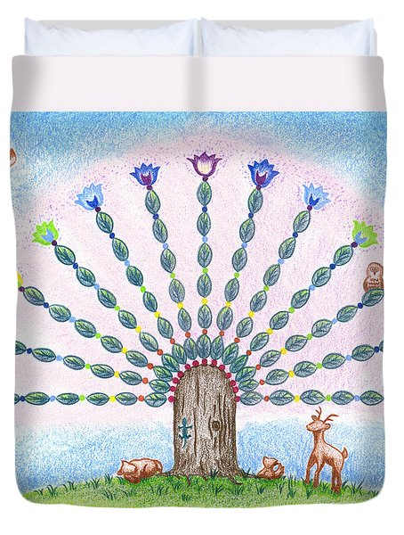 Duvet Cover featuring the drawing Chakra Tree by Keiko Katsuta