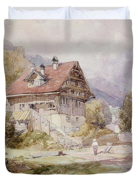 Chalet, Brunnen, Lake Lucerne Duvet Cover by James Duffield Harding