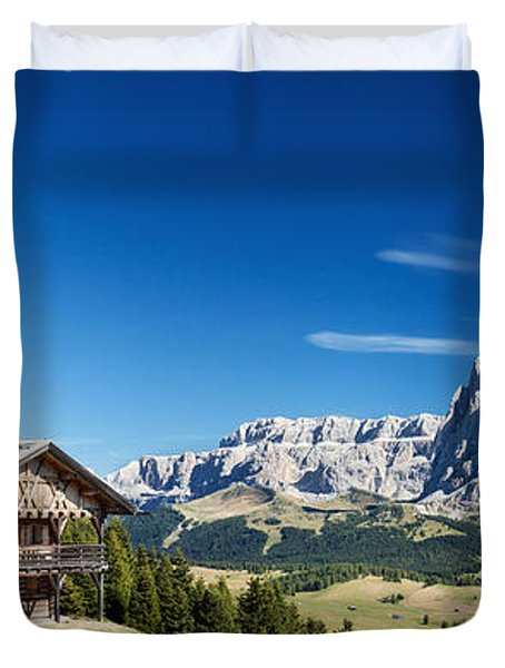 Duvet Cover featuring the photograph Chalet In South Tyrol by Carsten Reisinger