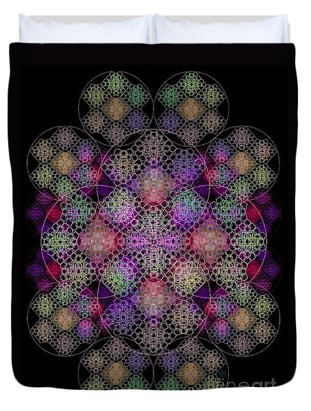 Duvet Cover featuring the digital art Chalice Cell Rings On Black Dk29 by Christopher Pringer