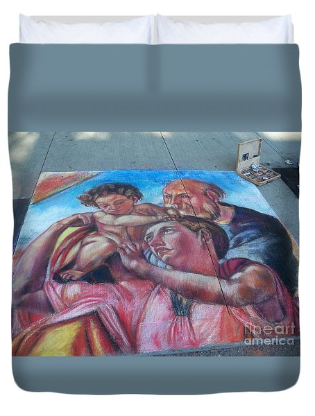 Chalk Painting By Street Artist Duvet Cover